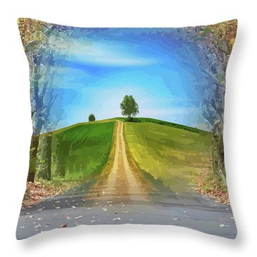 Tree On The Hill Montage Throw Pillow