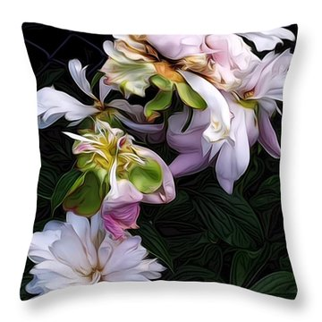 Throw Pillow featuring the digital art Tree Peony by Alexis Rotella