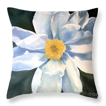 Throw Pillow featuring the painting Tree Peony by Laurie Rohner
