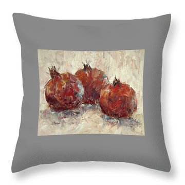 Three Pomegranates Throw Pillow by Jill Musser