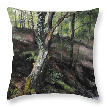 Tree River Wood Throw Pillow