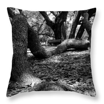 Tree Root In Black And White Throw Pillow