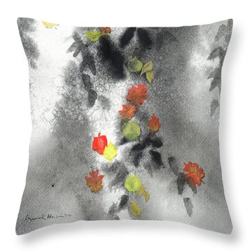 Tree Shadows And Fall Leaves Throw Pillow