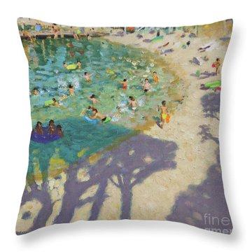 Tree Shadows, On The Beach, Near Rovinj Throw Pillow