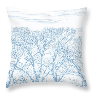 Throw Pillow featuring the photograph Tree Silhouette Blue by Jennie Marie Schell