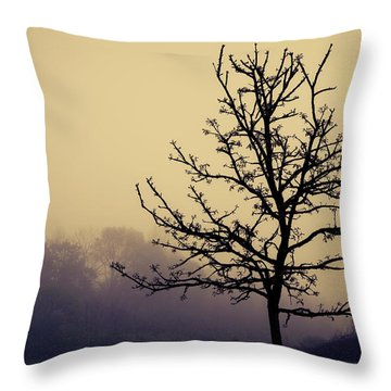 Tree Silhouette On A Foggy Morn Throw Pillow