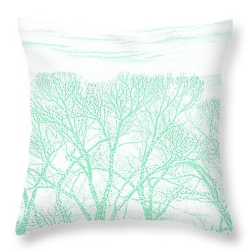 Throw Pillow featuring the photograph Tree Silhouette Teal by Jennie Marie Schell