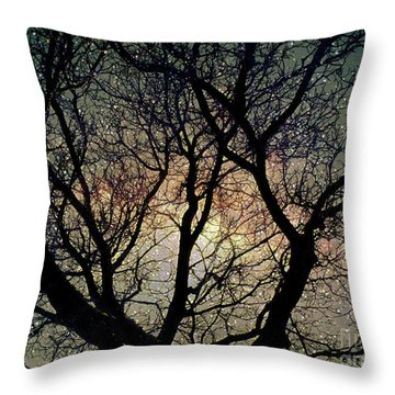 Throw Pillow featuring the photograph Tree Silhouette With Stars. by Yulia Kazansky