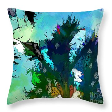 Tree Spirit Abstract Digital Painting Throw Pillow