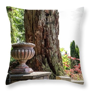 Tree Stump And Concrete Planter Throw Pillow