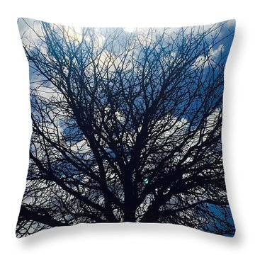 Tree Sun And Blue Sky Throw Pillow