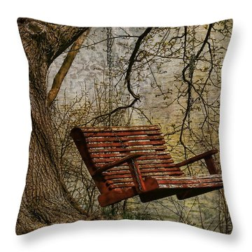 Tree Swing By The Lake Throw Pillow by Deborah Benoit