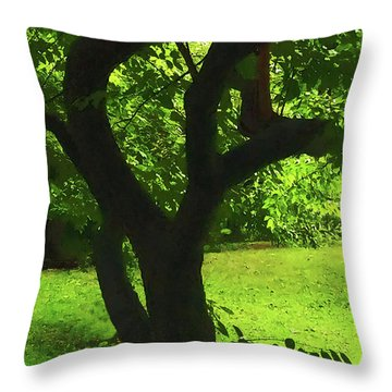 Tree Trunk Green Throw Pillow
