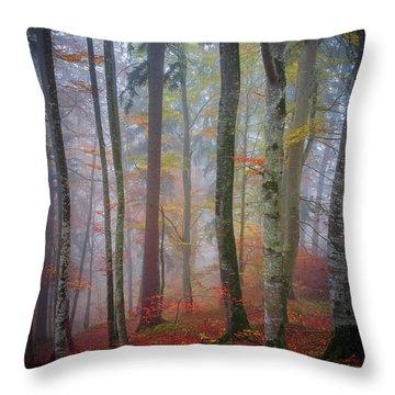 Tree Trunks In Fog Throw Pillow