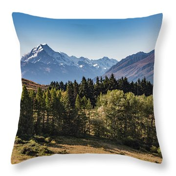 Throw Pillow featuring the photograph Tree View Of Mt Cook Aoraki by Gary Eason