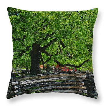 Tree With Colonial Fence Throw Pillow