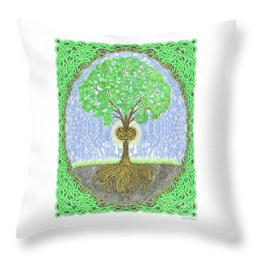 Tree With Heart And Sun Throw Pillow by Lise Winne