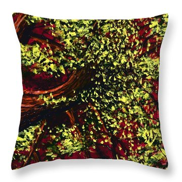 Tree With Red Sky Throw Pillow