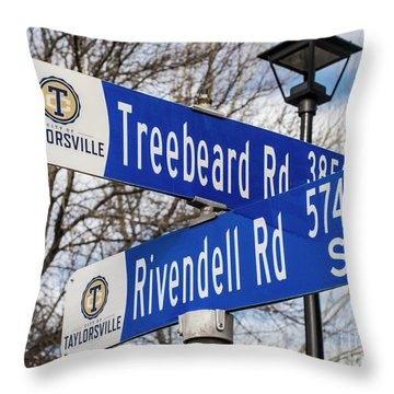 Throw Pillow featuring the photograph Treebeard And Rivendell Street Signs by Gary Whitton