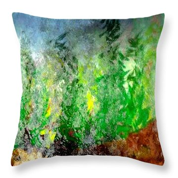 Throw Pillow featuring the painting Trees 4 by John Krakora