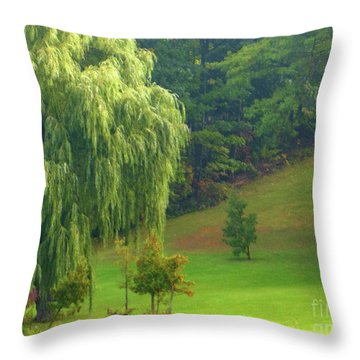 Trees Along Hill Throw Pillow