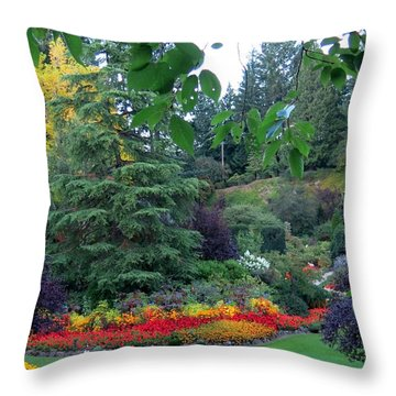 Trees And Flowers Throw Pillow by Betty Buller Whitehead