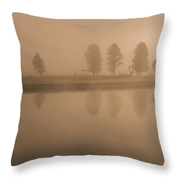 Trees And Fog Throw Pillow