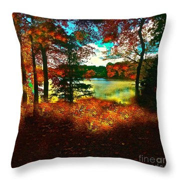 Trees And Shadows In New England Throw Pillow by Saundra Myles