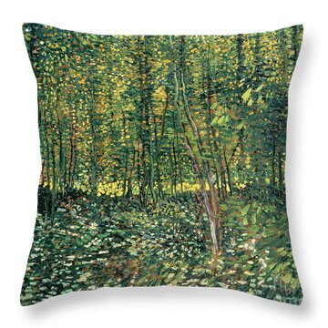 Trees And Undergrowth Throw Pillow by Vincent Van Gogh