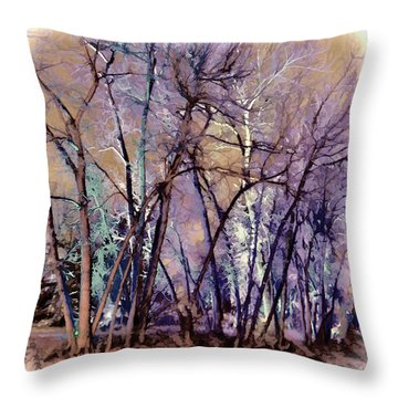 Throw Pillow featuring the digital art Trees Are Poems That The Earth Writes Upon The Sky by OLena Art Brand