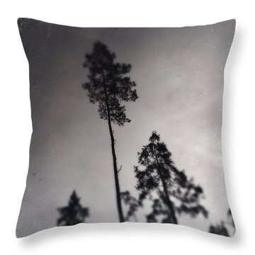 Trees Black And White Wetplate Throw Pillow
