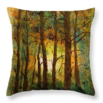 Throw Pillow featuring the painting Trees by Donald Paczynski