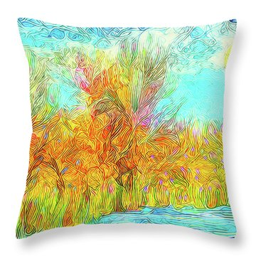Throw Pillow featuring the digital art Trees Flow With Sky - Boulder County Colorado by Joel Bruce Wallach