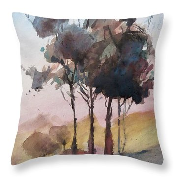 Throw Pillow featuring the painting Trees by Geni Gorani