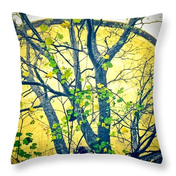 Trees Growing In Silo  - Large Yellow Edition Throw Pillow