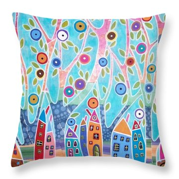 Trees Houses Landscape Throw Pillow by Karla Gerard