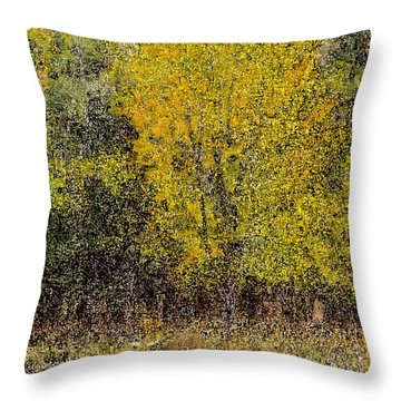 Trees In Fall With Texture Throw Pillow