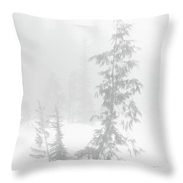 Trees In Fog Monochrome Throw Pillow