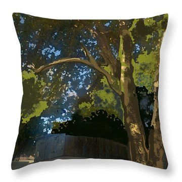 Trees In Park Throw Pillow by Walter Chamberlain