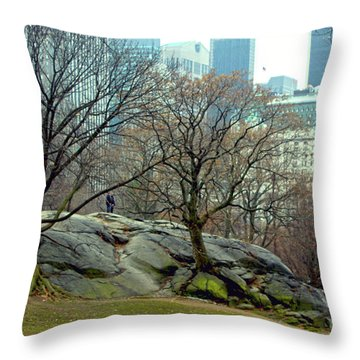 Trees In Rock Throw Pillow by Sandy Moulder
