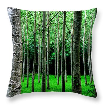 Throw Pillow featuring the digital art Trees In Rows by Julian Perry