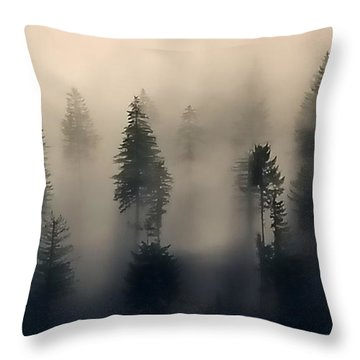 Trees In The Fog Throw Pillow