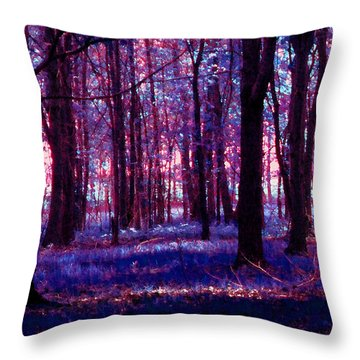 Throw Pillow featuring the photograph Trees In The Woods In Pink And Blue by Michelle Audas