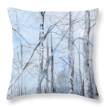 Trees In Winter Snow Throw Pillow by Robin Miller-Bookhout