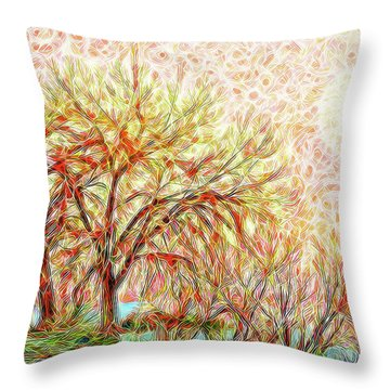 Throw Pillow featuring the digital art Trees In Winter Under Full Moon At Dusk by Joel Bruce Wallach