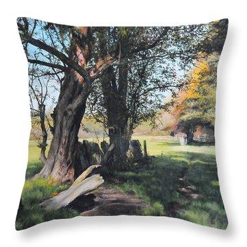 Trees Near Rhug. Throw Pillow by Harry Robertson