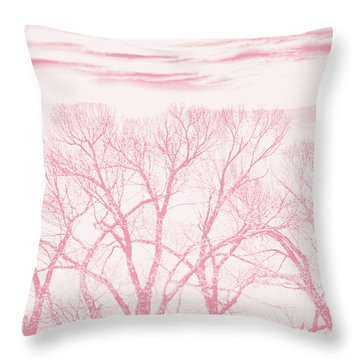 Throw Pillow featuring the photograph Trees Silhouette Pink by Jennie Marie Schell