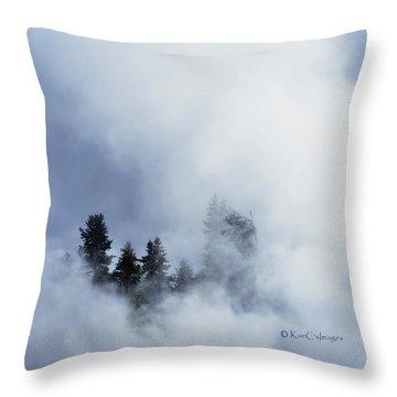 Trees Through Firehole River Mist Throw Pillow by Kae Cheatham