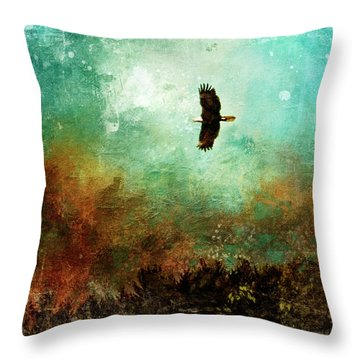 Treetop Eagle Flight Throw Pillow
