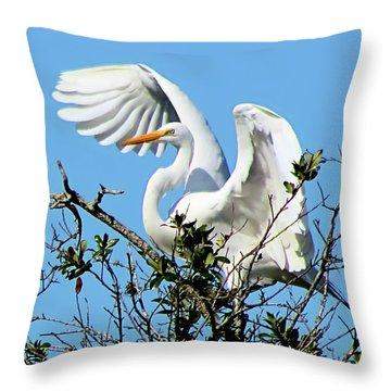 Treetop Egret Throw Pillow